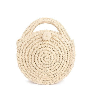 Beige round straw crossbody bag for women