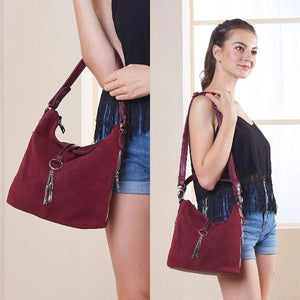 Suede hobo shoulder crossbody bag