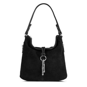 Black suede crossbody hobo bag