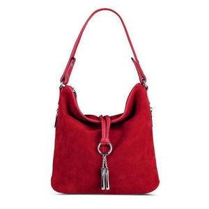 Red suede crossbody hobo bag