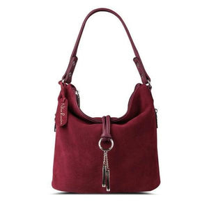 wine red suede crossbody hobo bag