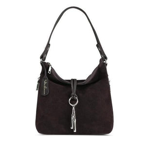 Coffe suede crossbody hobo bag