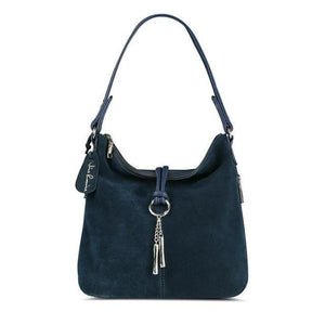 Navy blue suede crossbody hobo bag