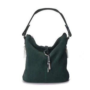 Dark Green suede crossbody hobo bag