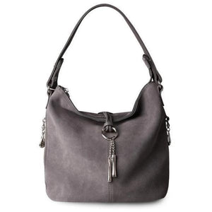 Gray suede crossbody hobo bag