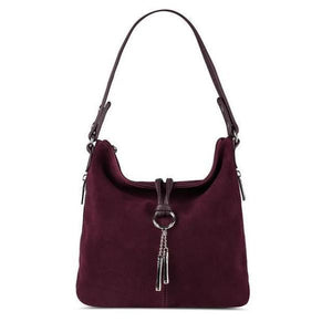 Dark purple suede crossbody hobo bag