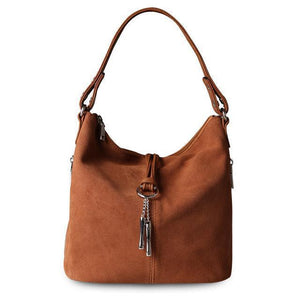 Light brown suede crossbody hobo bag