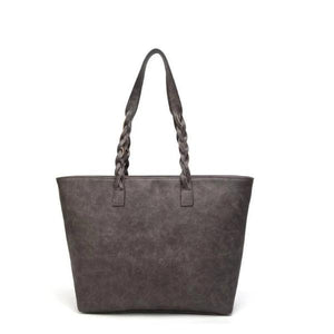 Gray leather tote purse for women