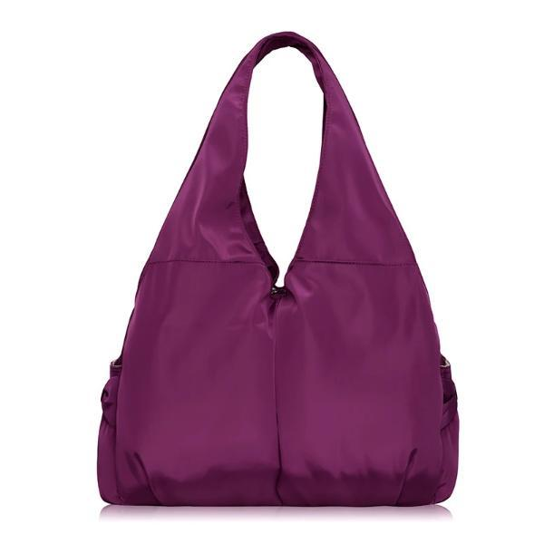 Purple tote bag nylon multiple pocket bottle holder