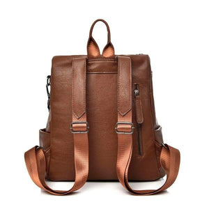 Leather backpack with back zipper pocker