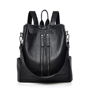 Black faux leather backpack purse