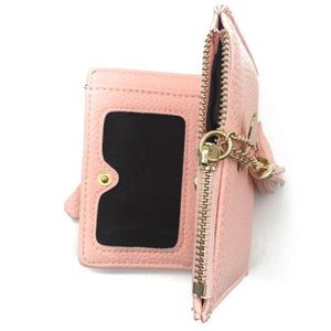 Pink leather wallet with zipper coin conpartment