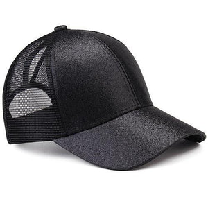 Noir ponytail baseball cap with glitter