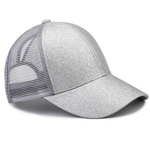 Silver ponytail baseball cap with glitter