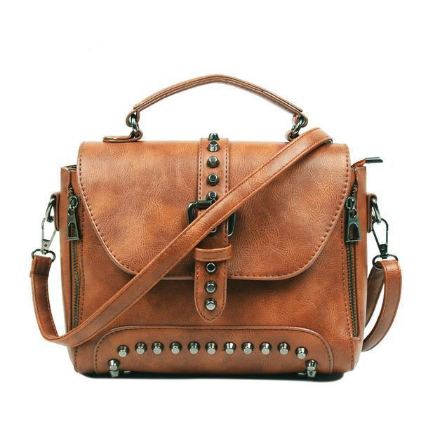 Brown Vintage handbag with rivets and spikes