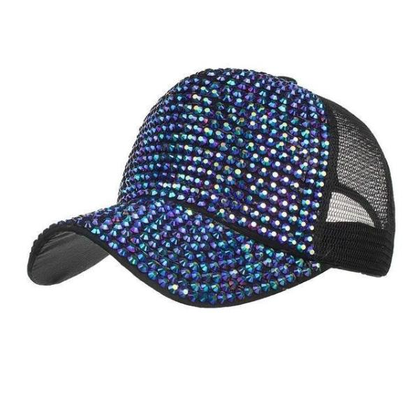 Blue womens baseball cap with Rhinestone