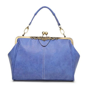Blue Vintage leather purses with crossbody strap and wristlet