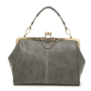 Gray Vintage leather purses with crossbody strap and wristlet