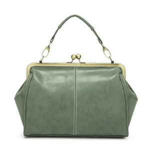 Green Vintage leather purses with crossbody strap and wristlet