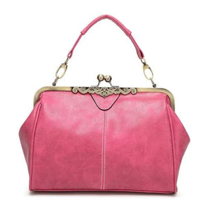 Pink Vintage leather purses with crossbody strap and wristlet