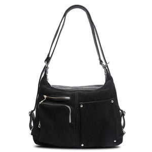 Black backpack purse suede leather