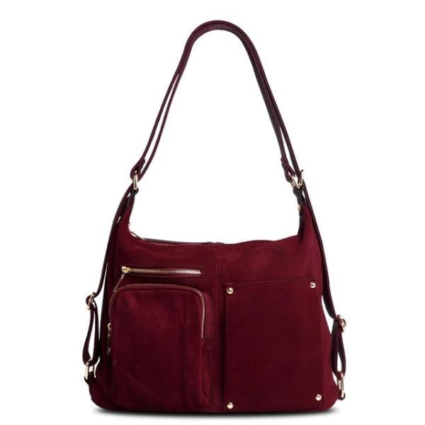 Burgundy backpack purse suede leather