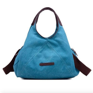 Blue canvas women crosbody bag