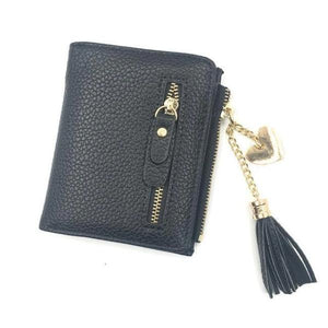 Black leather wallets for women with tassel