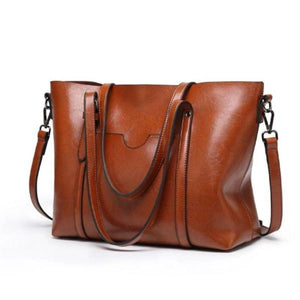 Brown leather crossbody tote