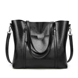 Black leather crossbody tote