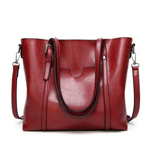 Red leather crossbody tote