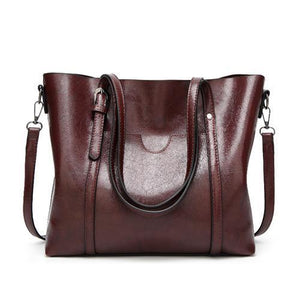Coffe leather crossbody tote