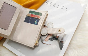 Mini wallet with zipper coins compartment