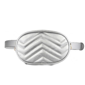 Silver leather fanny pack