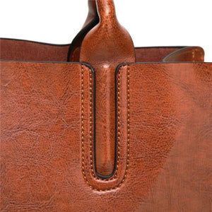 Leather brown tote bag