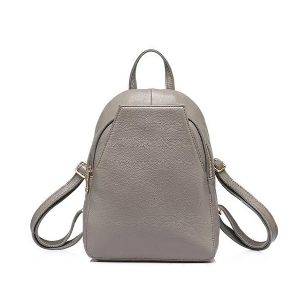 Gray Small leather backpack purse with convertible strap
