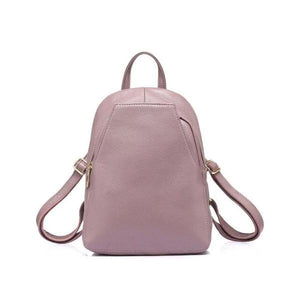 Pink Small leather backpack purse with convertible strap