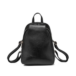 Black Small leather backpack purse with convertible strap