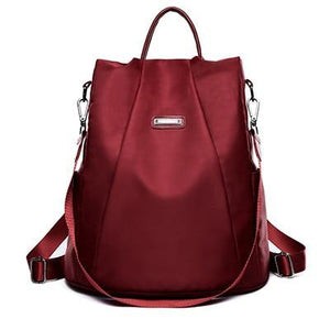 Red Nylon backpack purse convertible for women