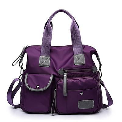 purple tote crosssbody nylon bag