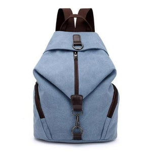 Grey blue canvas backpack women