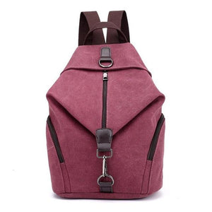 Red canvas women backpack anti theft
