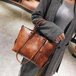 Brown crossbody tote bag leather