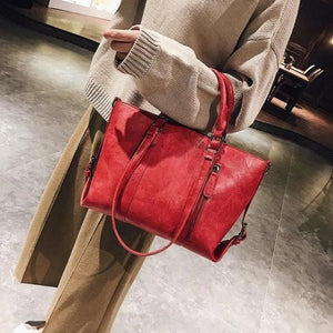 Red crossbody tote bag leather