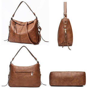 Brown leather crossbody shoulder purse