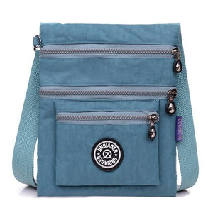 Gray blue small nylon crossbody bag