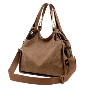Brown large canvas bag women