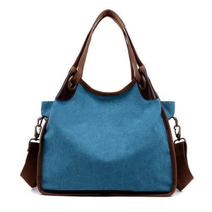 Blue large canvas handbag crossbody shoulder purse women