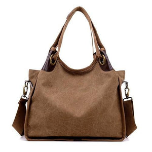 Brown large canvas handbag crossbody shoulder purse women