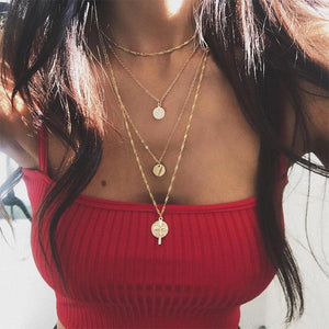 Layered gold coin necklace